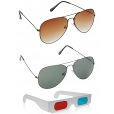 Brown Aviator Sunglasses + Green Aviator Sunglasses + Free 3D Glasses - 3 pcs/Pack