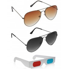 Brown Aviator Sunglasses + Grey Aviator Sunglasses + Free 3D Glasses - 3 pcs/Pack