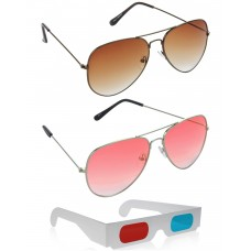 Brown Aviator Sunglasses + Orenge Aviator Sunglasses + Free 3D Glasses - 3 pcs/Pack