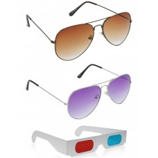 Brown Aviator Sunglasses + Purple Aviator Sunglasses + Free 3D Glasses - 3 pcs/Pack