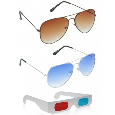 Brown Aviator Sunglasses + Yellow Aviator Sunglasses + Free 3D Glasses - 3 pcs/Pack