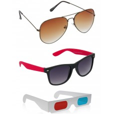 Brown Metal Frame Sunglasses + Black and Red Plastic Frame Sunglasses + Free 3D Glasses - 3 pcs/Pack