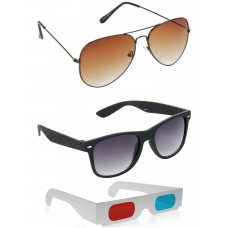 Brown Aviator Sunglasses + Black Wayfarer Sunglasses + Free 3D Glasses - 3 pcs/Pack