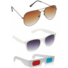 Brown Aviator Sunglasses + White Wayfarer Sunglasses + Free 3D Glasses - 3 pcs/Pack