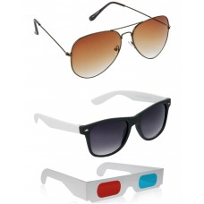Brown Metal Frame Sunglasses + Black and White Plastic Frame Sunglasses + Free 3D Glasses - 3 pcs/Pack