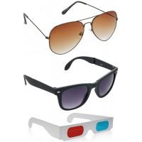 Brown Aviator Sunglasses + Foldable Black Wayfarer Sunglasses + Free 3D Glasses - 3 pcs/Pack