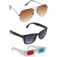 Brown Aviator Sunglasses + Foldable Black Wayfarer Sunglasses + Free 3D Glasses - 3 pcs/Pack