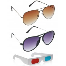 Brown Aviator Sunglasses + New Style Black Wayfarer Sunglasses + Free 3D Glasses - 3 pcs/Pack