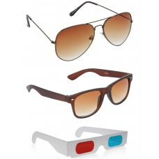 Brown Aviator Sunglasses + Brown Wayfarer Sunglasses + Free 3D Glasses - 3 pcs/Pack