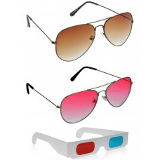 Brown Aviator Sunglasses + Red Aviator Sunglasses + Free 3D Glasses - 3 pcs/Pack