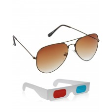 Brown Metal Frame Sunglasses + Free 3D Glasses - 2 pcs/Pack