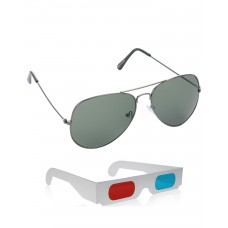 Green Metal Frame Sunglasses + Free 3D Glasses - 2 pcs/Pack