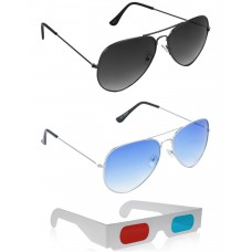 Yellow Aviator Sunglasses + Grey Aviator Sunglasses + Free 3D Glasses - 3 pcs/Pack