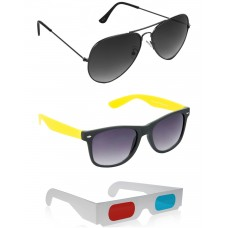 Foldable Brown Plastic Frame Sunglasses + Grey Metal Frame Sunglasses + Free 3D Glasses - 3 pcs/Pack
