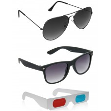 Black Plastic Frame Sunglasses + Grey Metal Frame Sunglasses + Free 3D Glasses - 3 pcs/Pack