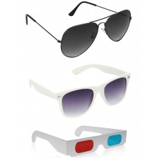 White Wayfarer Sunglasses + Grey Aviator Sunglasses + Free 3D Glasses - 3 pcs/Pack