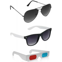 Black and White Plastic Frame Sunglasses + Grey Metal Frame Sunglasses + Free 3D Glasses - 3 pcs/Pack