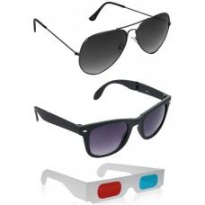 Foldable Black Plastic Frame Sunglasses + Grey Metal Frame Sunglasses + Free 3D Glasses - 3 pcs/Pack