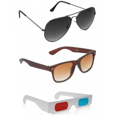 Brown Wayfarer Sunglasses + Grey Aviator Sunglasses + Free 3D Glasses - 3 pcs/Pack