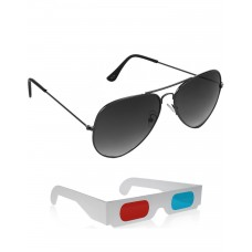 Grey Metal Frame Sunglasses + Free 3D Glasses - 2 pcs/Pack