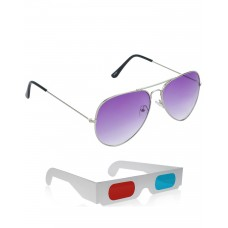 Purple Aviator Sunglasses + Free 3D Glasses - 2 pcs/Pack