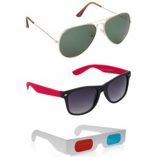 Gold Green Metal Frame Sunglasses + Black and Red Plastic Frame Sunglasses + Free 3D Glasses - 3 pcs/Pack