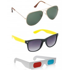 Gold Green Metal Frame Sunglasses + foldable Brown Plastic Frame Sunglasses + Free 3D Glasses - 3 pcs/Pack