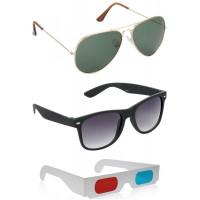 Gold Green Aviator Sunglasses + Black Wayfarer Sunglasses + Free 3D Glasses - 3 pcs/Pack