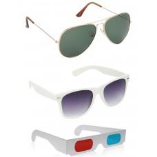 Gold Green Metal Frame Sunglasses + White Plastic Frame Sunglasses + Free 3D Glasses - 3 pcs/Pack