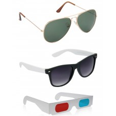 Gold Green Metal Frame Sunglasses + Black and White Plastic Frame Sunglasses + Free 3D Glasses - 3 pcs/Pack