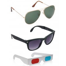 Gold Green Metal Frame Sunglasses + Foldable Black Plastic Frame Sunglasses + Free 3D Glasses - 3 pcs/Pack