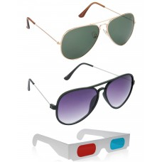 Gold Green Metal Frame Sunglasses + New Style Black Plastic Frame Sunglasses + Free 3D Glasses - 3 pcs/Pack