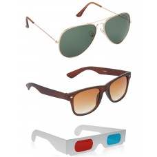 Gold Green Metal Frame Sunglasses + Brown Plastic Frame Sunglasses + Free 3D Glasses - 3 pcs/Pack