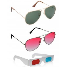 Gold Green Metal Frame Sunglasses + Red Metal Frame Sunglasses + Free 3D Glasses - 3 pcs/Pack