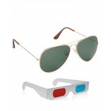 Gold Green Metal Frame Sunglasses + Free 3D Glasses - 2 pcs/Pack