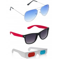 Yellow Aviator Sunglasses + Black and Red Wayfarer Sunglasses + Free 3D Glasses - 3 pcs/Pack