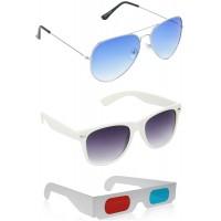 Yellow Aviator Sunglasses + White Wayfarer Sunglasses + Free 3D Glasses - 3 pcs/Pack