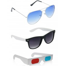 Yellow Aviator Sunglasses + Black and White Wayfarer Sunglasses + Free 3D Glasses - 3 pcs/Pack