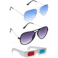 Yellow Aviator Sunglasses + New Style Black Wayfarer Sunglasses + Free 3D Glasses - 3 pcs/Pack