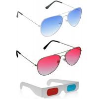 Yellow Aviator Sunglasses + Red Aviator Sunglasses + Free 3D Glasses - 3 pcs/Pack