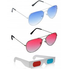 Yellow Aviator Sunglasses + Red Aviator Sunglasses + Free 3D Glasses - 3 pcs/Pack