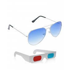Yellow Aviator Sunglasses + Free 3D Glasses - 2 pcs/Pack