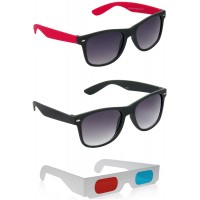 Black and Red Wayfarer Sunglasses + Black Wayfarer Sunglasses + Free 3D Glasses - 3 pcs/Pack