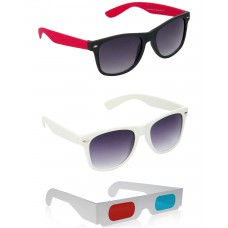 Black and Red Plastic Frame Sunglasses + White Plastic Frame Sunglasses + Free 3D Glasses - 3 pcs/Pack