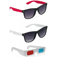 Black and Red Wayfarer Sunglasses + Black and White Wayfarer Sunglasses + Free 3D Glasses - 3 pcs/Pack