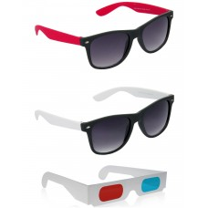 Black and Red Plastic Frame Sunglasses + Black and White Plastic Frame Sunglasses + Free 3D Glasses - 3 pcs/Pack