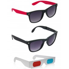 Foldable Black Wayfarer Sunglasses + Black and Red Wayfarer Sunglasses + Free 3D Glasses - 3 pcs/Pack