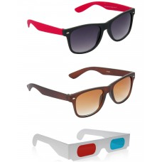 Black and Red Plastic Frame Sunglasses + Brown Plastic Frame Sunglasses + Free 3D Glasses - 3 pcs/Pack