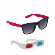 Red and Black Wayfarer Sunglasses + Free 3D Glasses - 2 pcs/Pack