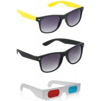Foldable Brown Wayfarer Sunglasses + Black Wayfarer Sunglasses + Free 3D Glasses - 3 pcs/Pack